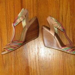 SEYCHELLES strappy wedge pink green yellow size 6